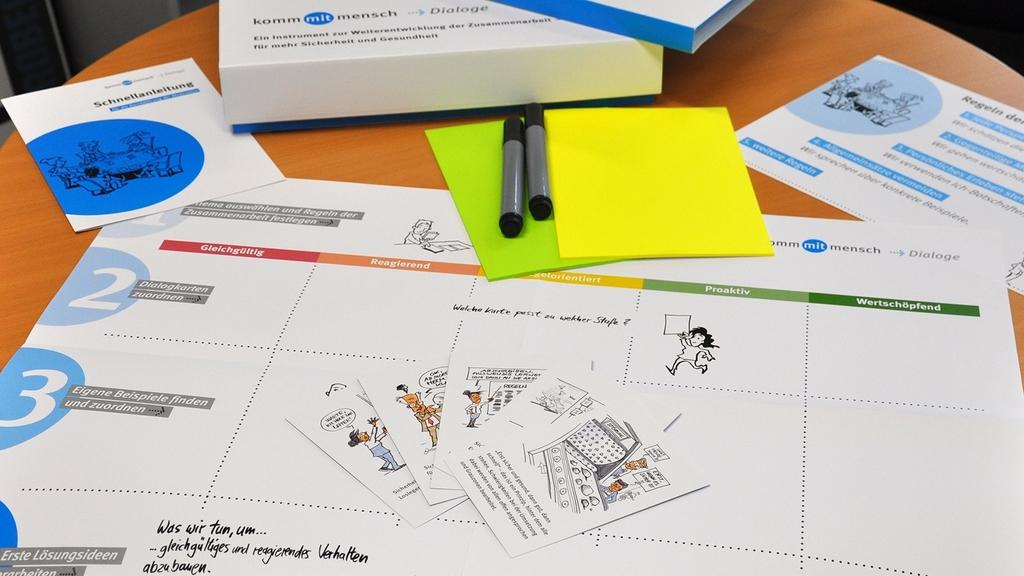 Dialogkarten, Plakat, bunte Zettel und Kugelschreiber liegen auf dem Tisch