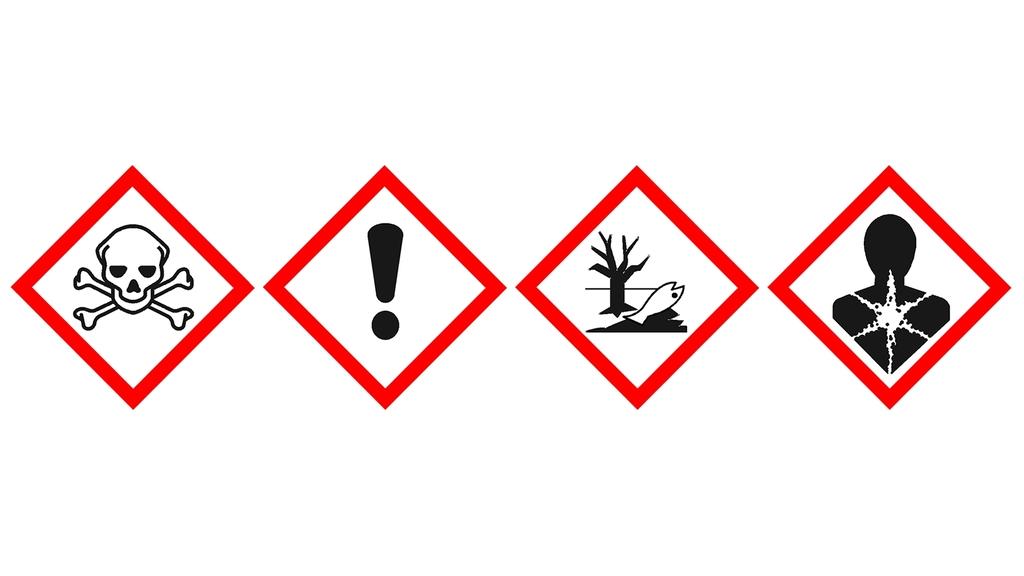 4 Piktogramme nach der GHS-Kennzeichnung:Totenkopf mit gekreuzten Knochen,Ausrufezeichen, Umwelt, Gesundheitsgefahr