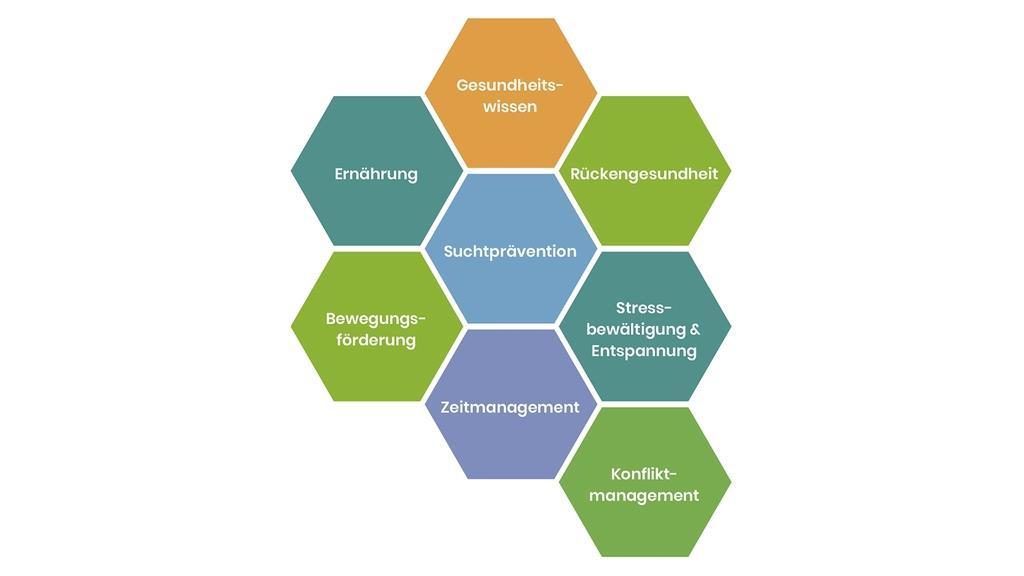 Grafik Themenbausteine für die AzubiAktiv-Gesundheitsseminare