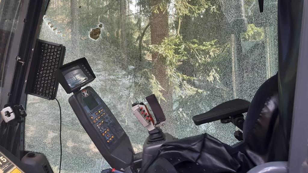 Harvester mit Seitenscheibe, mit durch einen Kettenschutz deutlich beschädigt wurde