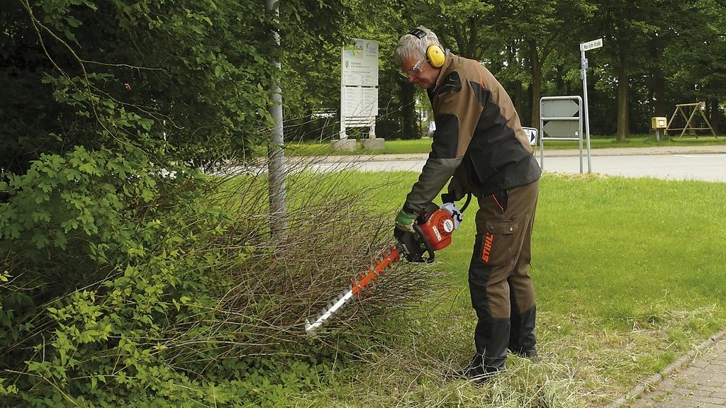 Mann mit Heckenschere schneidet Sträucher
