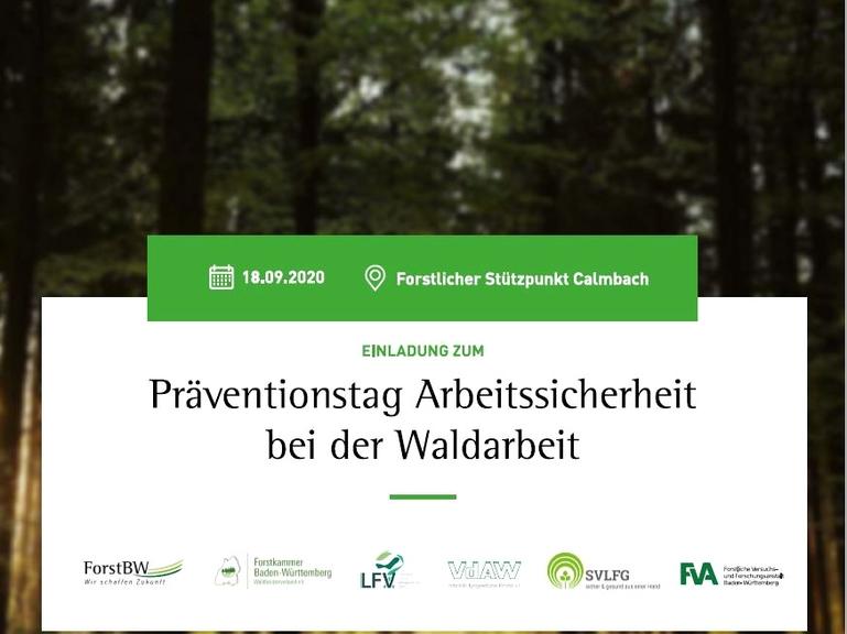 Titelbild zur Einladung zum Präventionstag Sicherheit bei der Waldarbeit am 18. September 2020 mit Aufzählung der Ausrichter