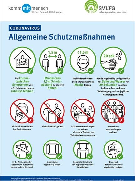 Plakat mit allgemeinen Corona Schutzmaßnahmen
