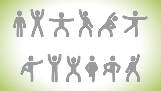 Symbole Gymnastikmännchen