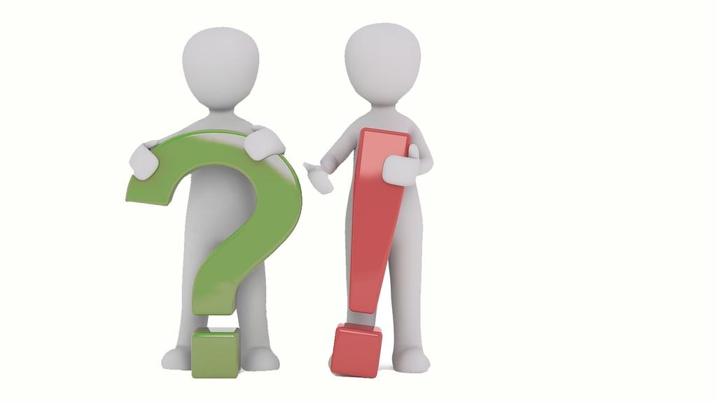 Zwei graue Symbolmännchen. Eins hält ein grünes Fragezeichen, ein anderes ein rotes Ausrufezeichen.