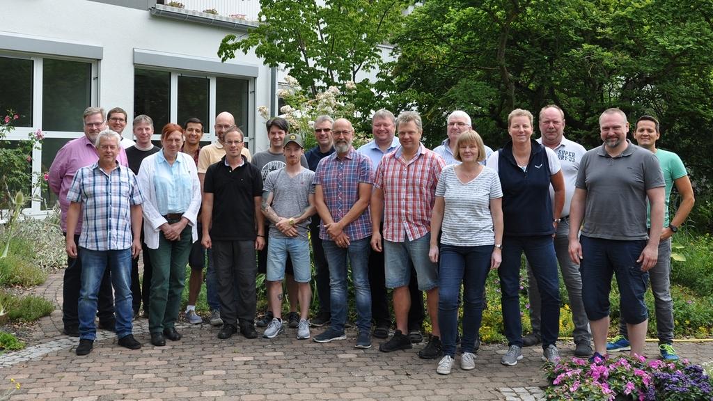 Teilnehmer eines von vier Ausbildungslehrgängen 2019der gärtnerischen Ausrichtung; Juli 2019 in Grünberg