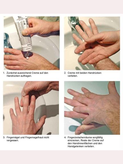 Darstellung, wie Hände richtig eingecremt werden