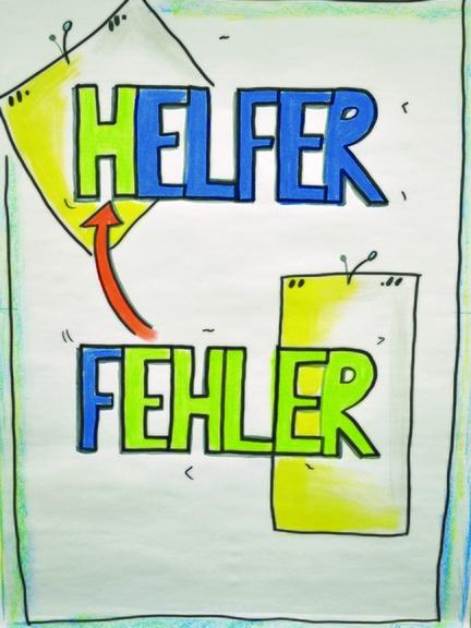 Auf einem Plakat stehen die Wörter Helfer und Fehler.