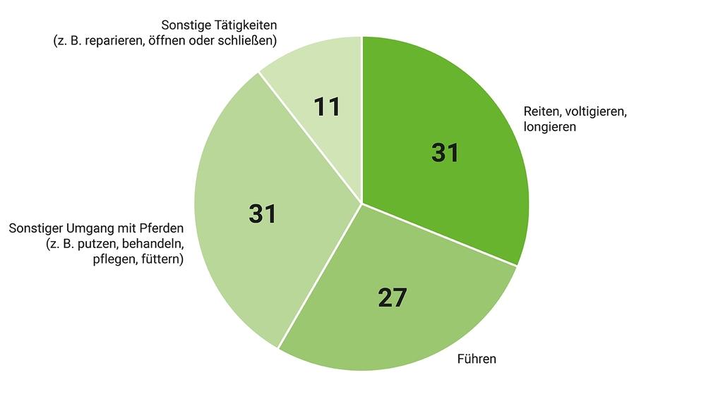 Ein Kreisdiagramm zeigt die prozentuale Verteilung der meldepflichtigen Pferdeunfälle nach den Tätigkeiten führen, reiten (mit voltigieren und longieren, sonstiger Umgang mit Pferden und sonstige Tätigkeiten (z. B. reparieren).