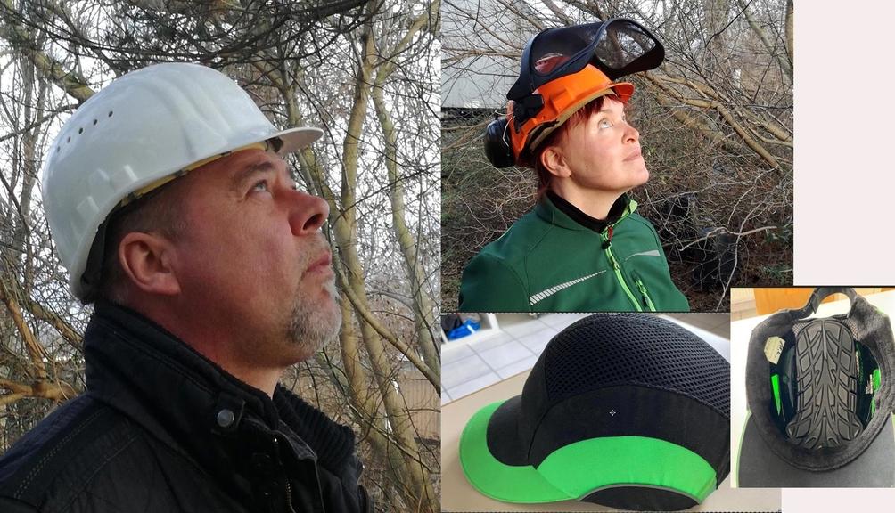 Mann mit Industrieschutzhelm, Frau mit Helm Forstkombination, Helm mit Anstoßkappe