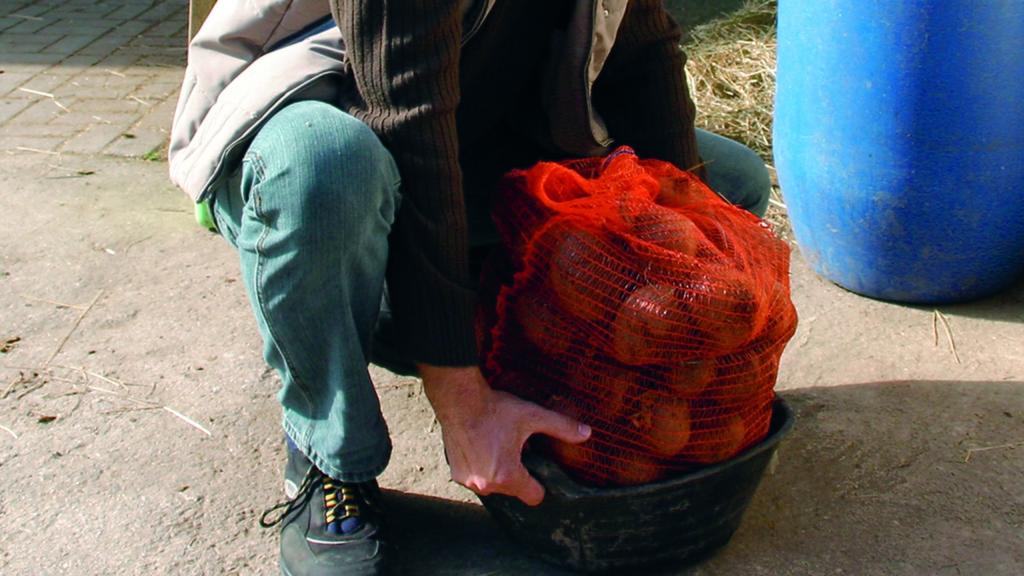 Person hebt einen Sack Kartoffeln hoch. Dabei geht sie in die Knie.
