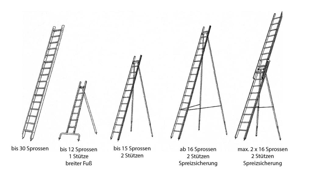 Die Zeichnung zeigt verschiedene Obstbaumleitern.