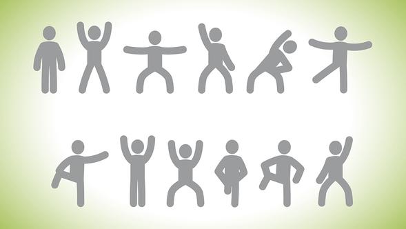 Grafik mit grauen Gymnastikmännchen auf grün weißem Hintergrund