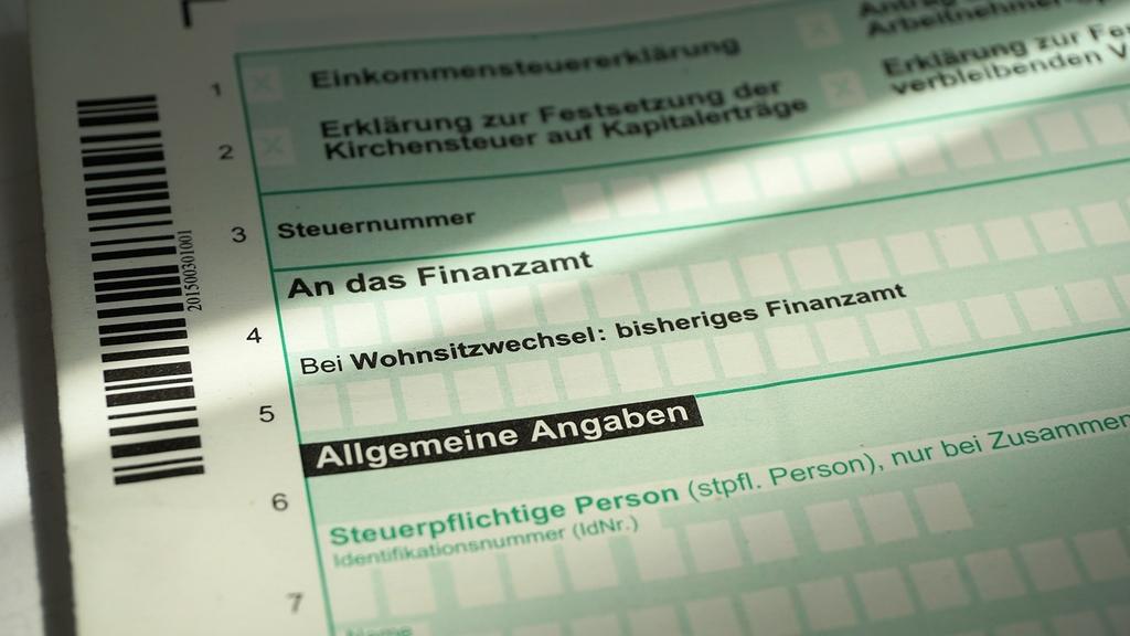 Formular einer Steuererklärung