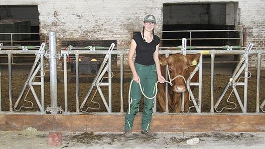 Frau mit Rind im Stall